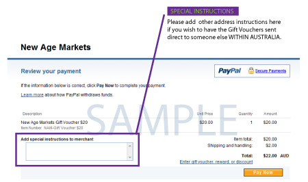 Screenshot of Gift Vouchers PayPal payment page