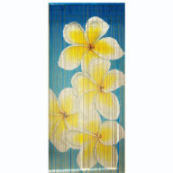 Blue Multi Frangipani door curtain