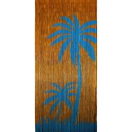 blue palms door curtain