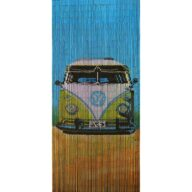 green camper door curtain