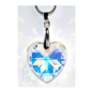 Swarovski Heart Pendant - 28mm Aurora Borealis. Buy in store or online from The Hippy Shop