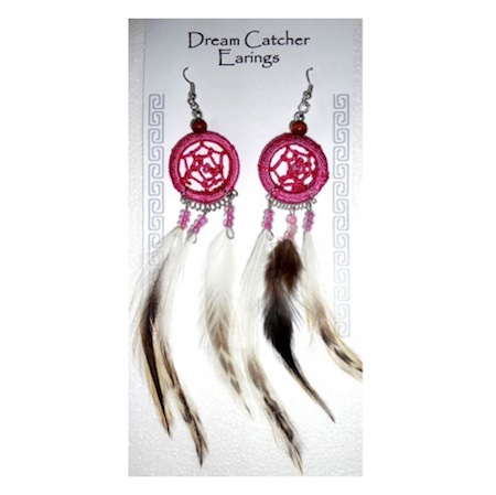 Pink Dreamcatcher Earrings. Buy in store or online from The New Age Markets