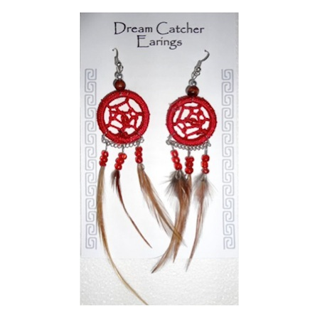 Red Dreamcatcher Earrings. Buy in store or online from The New Age Markets
