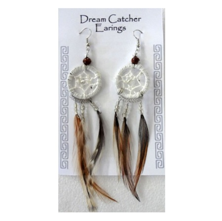 White Dreamcatcher Earrings. Buy in store or online from The New Age Markets