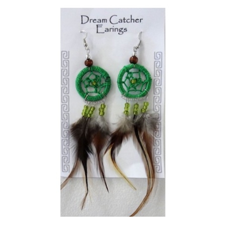 Green Dreamcatcher Earrings. Buy in store or online from The New Age Markets