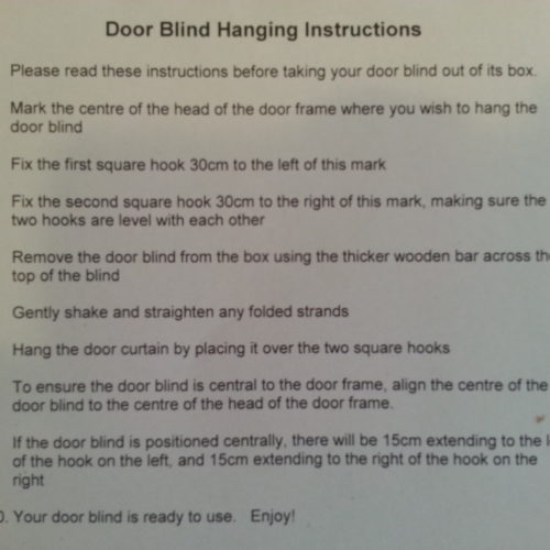 Hanging Instructions